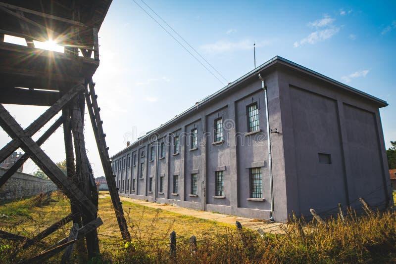 Архитектура здания в концентрационных лагерях WWII стоковые изображения