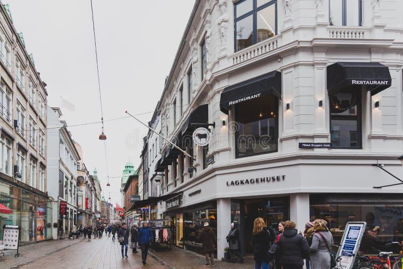 Архитектура и здания Stroget, главная торговая улица стоковое фото