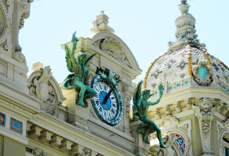 Архитектура и часы казино Монте-Карло стоковые фотографии rf