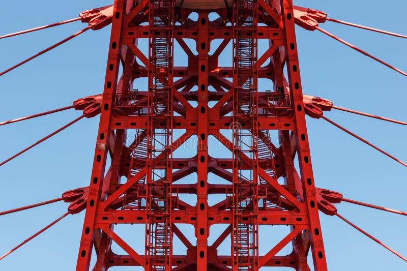 Архитектура, нося висячий мост, стальная веревочка стоковые фото