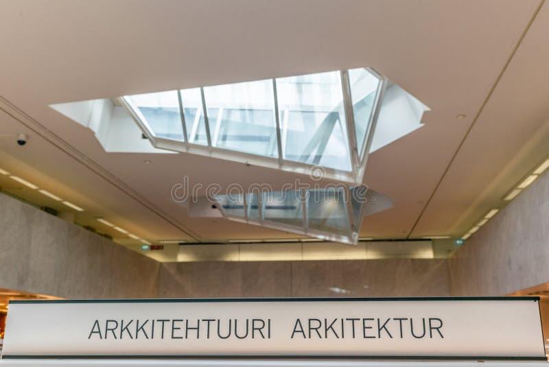 Архитектура подписывает внутри финское и шведское в книжном магазине в Fi стоковое фото