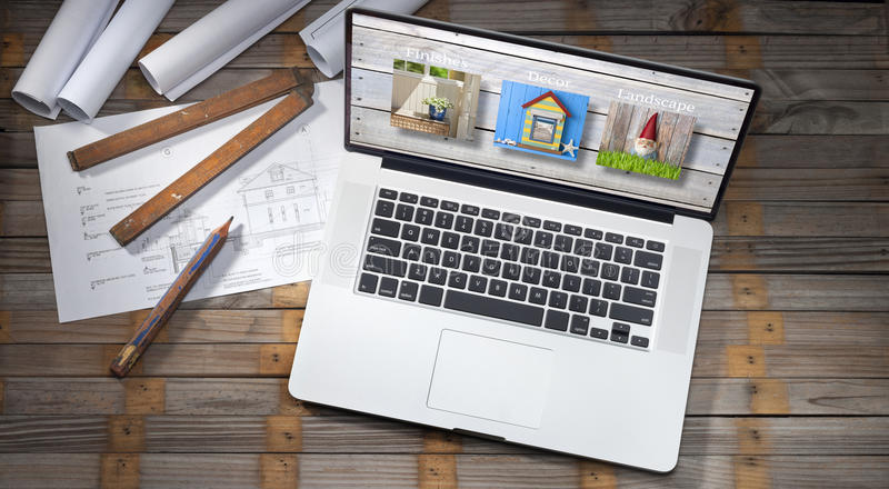Архитектура планирует компьютер стоковое изображение