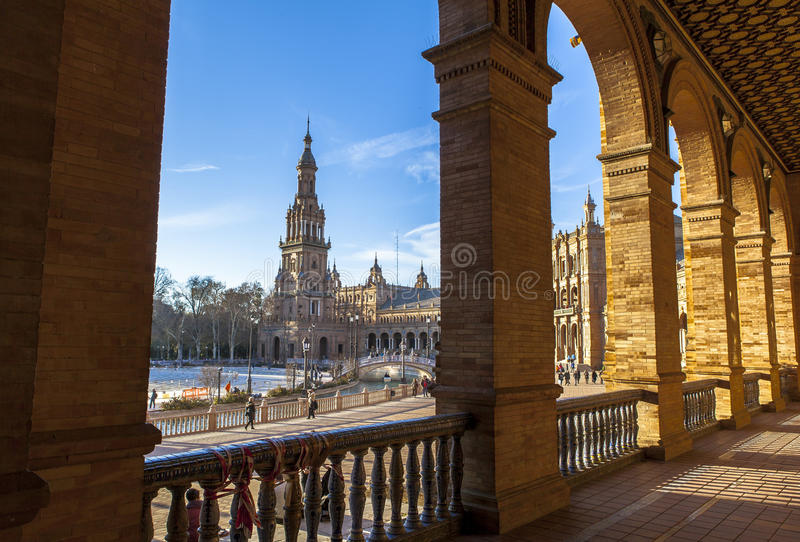 Архитектура Площади de Espana, Севильи, Испании стоковые фото