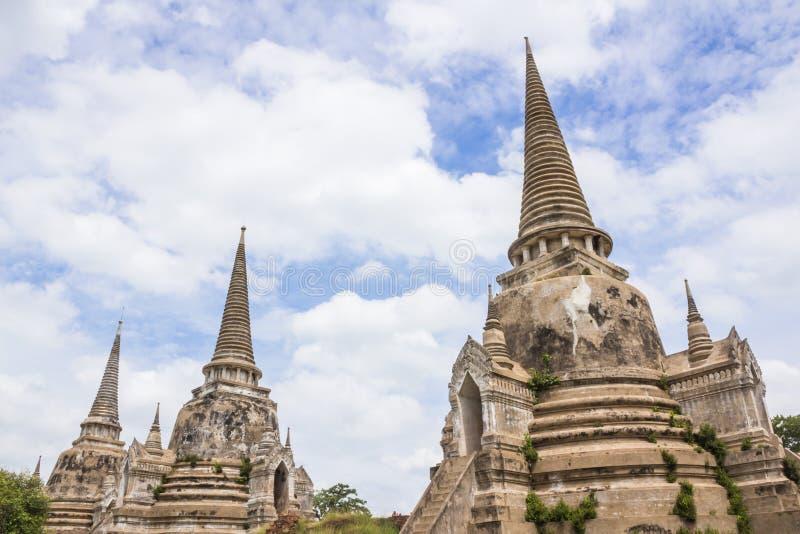 Архитектура старого виска, sanphet Wat Phra si на Ayutthaya, Таиланде, месте всемирного наследия стоковые изображения rf