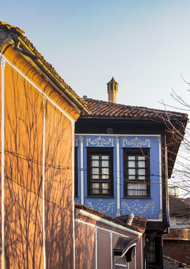 Архитектура старого городка Пловдива, который в 2019 стал европейской столицей культуры bulbed стоковые фото
