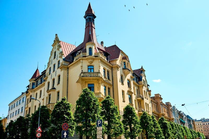 Архитектура Nouveau искусства в Риге, Латвии стоковые фото