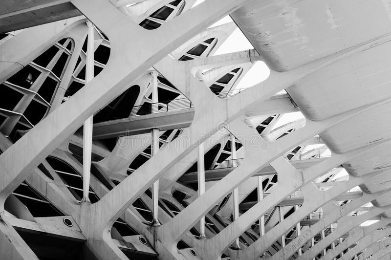 Архитектура ` s музея науки современная в городе искусств и наук, Валенсии стоковое фото rf