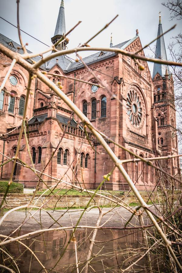 Архитектурноакустическая деталь церков Johanneskirche во Фрайбурге im Breisgau, Германия стоковые изображения