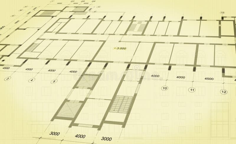 Архитектурноакустическая предпосылка с техническими чертежами r r иллюстрация вектора