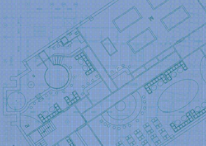 Архитектурноакустическая предпосылка с техническими чертежами r r иллюстрация штока