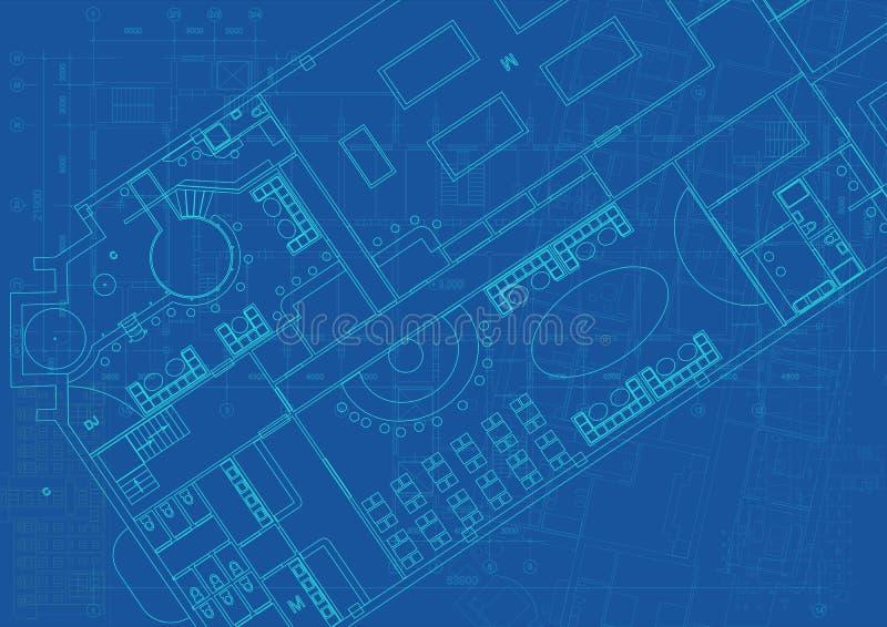 Архитектурноакустическая предпосылка с техническими чертежами r r бесплатная иллюстрация