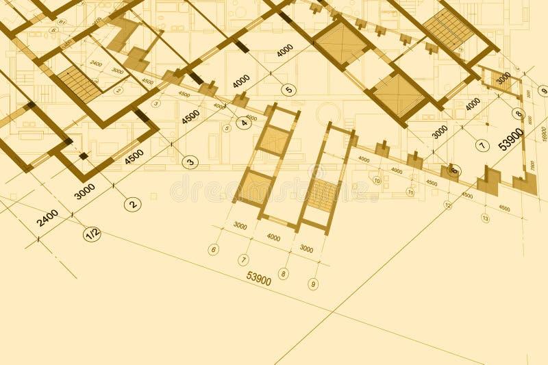 Архитектурноакустическая предпосылка с техническими чертежами r r стоковое изображение