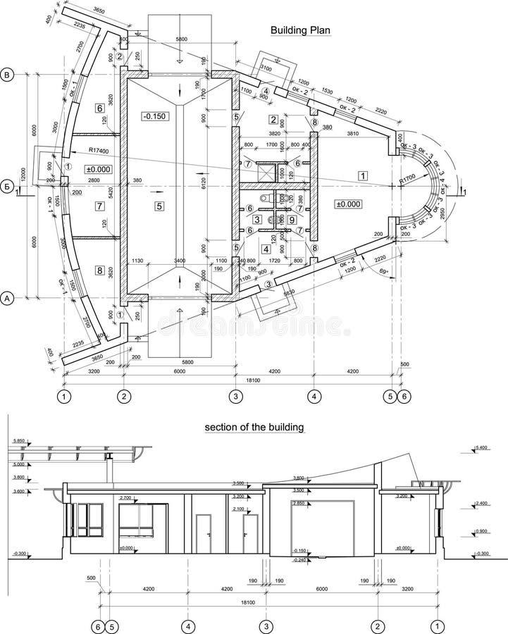архитектурноакустическая черная белизна вектора чертежа стоковое изображение rf