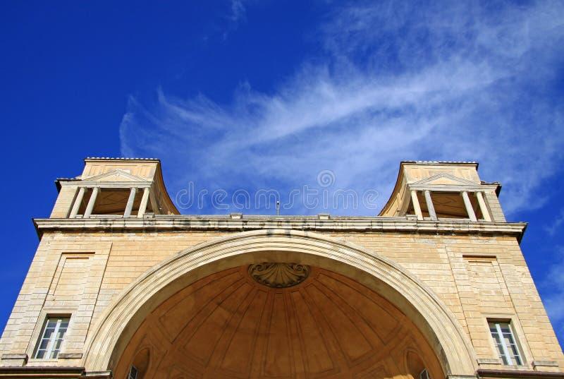 Архитектурноакустические детали апостольского дворца, фасада двора бельведера Италия rome vatican стоковое изображение rf