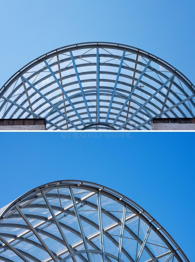 Архитектурноакустические детали стеклянного и стального здания стоковое изображение