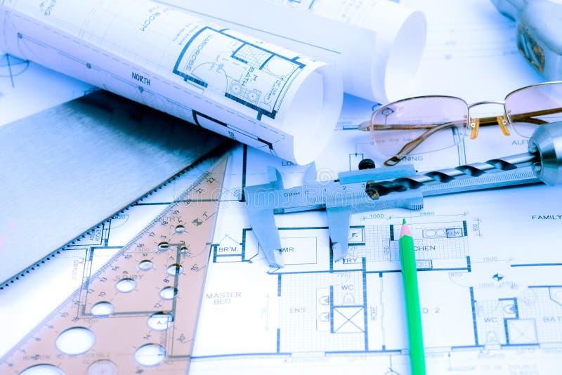 Архитектурноакустические крены светокопий и детали инженерства стоковое фото