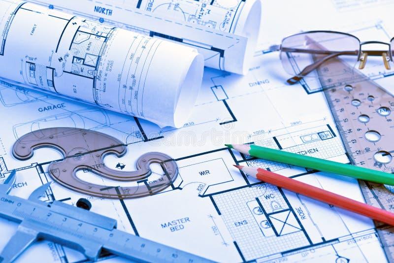 Архитектурноакустические крены светокопий и детали инженерства стоковые изображения