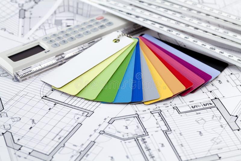 архитектурноакустические образцы материалов цвета стоковое фото rf