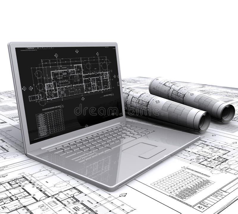 архитектурноакустические планы компьтер-книжки иллюстрация штока