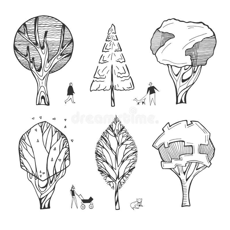 Архитектурноакустические чертежи деревьев бесплатная иллюстрация
