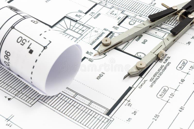 Архитектурноакустические чертежи дома стоковое фото