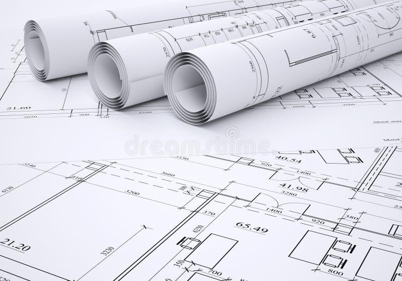 Архитектурноакустические чертежи стоковая фотография rf