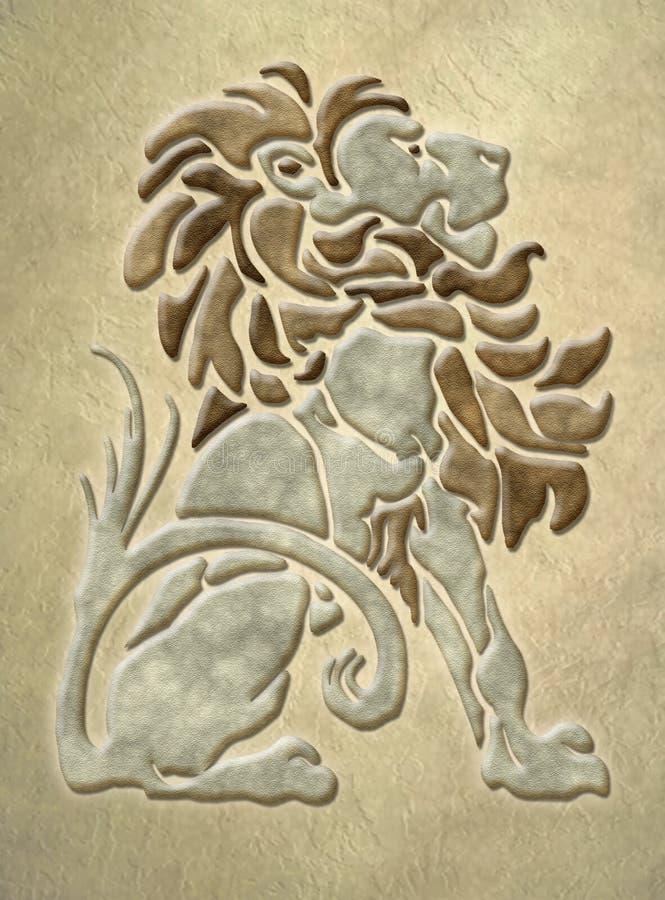 архитектурноакустический камень мотива льва стоковые изображения