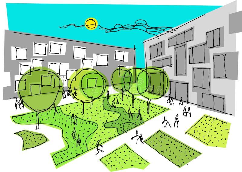 Архитектурноакустический красочный эскиз современного города с людьми и зелеными зонами иллюстрация вектора