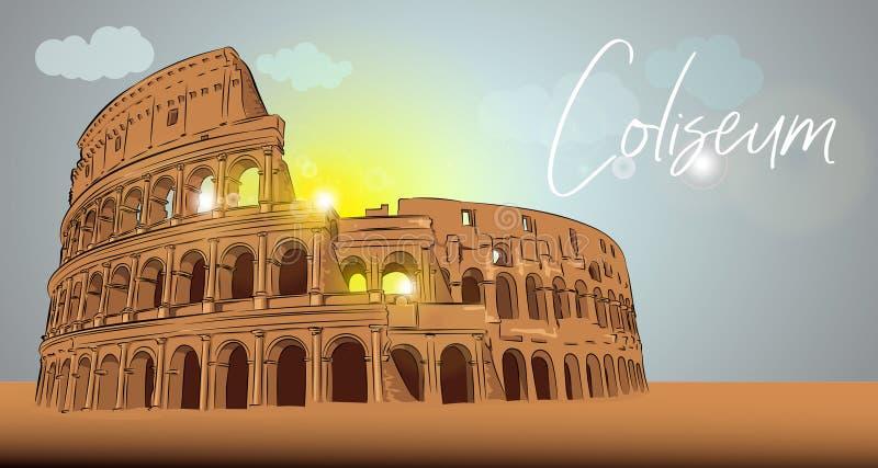 Архитектурноакустический ориентир Рима Colosseum бесплатная иллюстрация