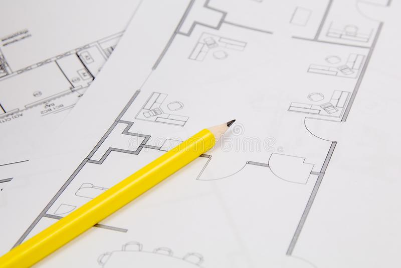 Архитектурноакустический план Чертежи, pancil и светокопии дома инженерства стоковое фото