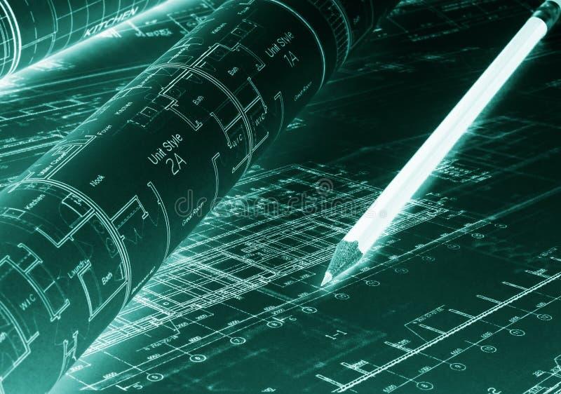 Архитектурноакустический проект Планы здания светокопии с карандашем иллюстрация штока