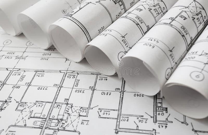 Архитектурноакустический проект, светокопии, blueprin стоковое фото rf