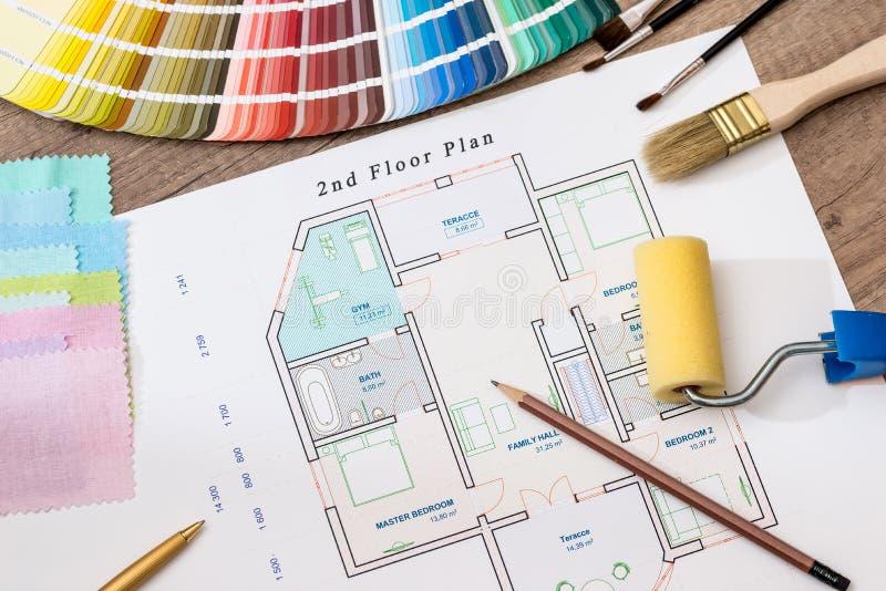 Архитектурноакустический план дома с цветовой палитрой стоковые фото