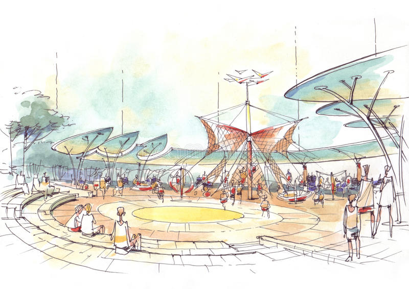 Архитектурноакустический чертеж спортивной площадки в городе иллюстрация вектора