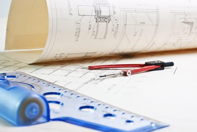 архитектурноакустический чертеж старый стоковые изображения