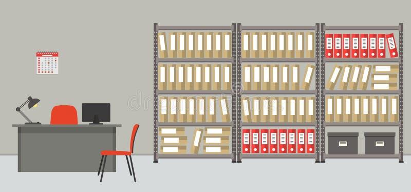 архитектурноакустически Комната офиса для хранения документов иллюстрация вектора