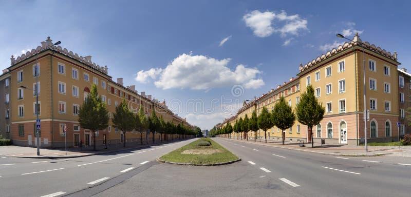 Архитектурный стиль Sorela в Havirov, защищенной зоне памятника, чехии стоковые фотографии rf