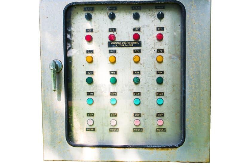 Аспирируя управление доски переключателя аэратора электрическое, изображение показывает кнопку команды изолированную на белой пре стоковые фото