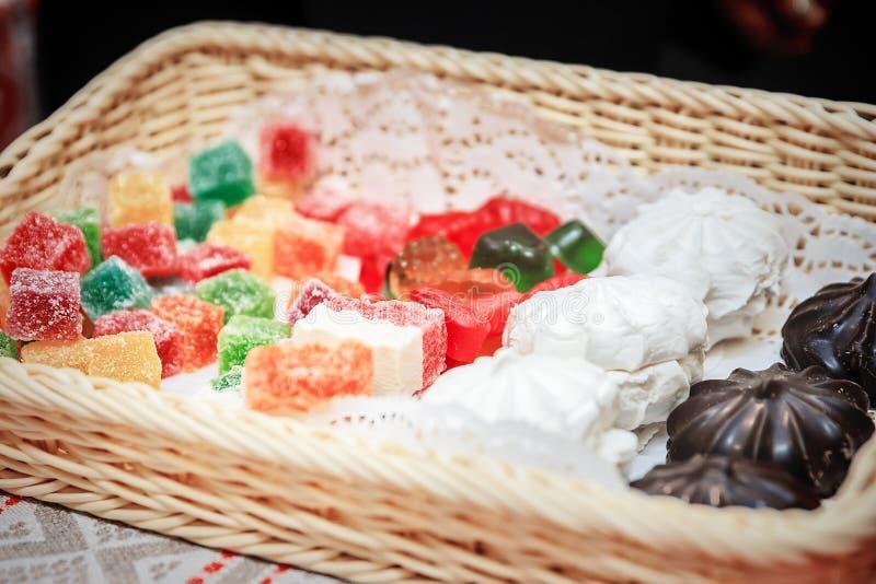 Ассортимент домодельной кондитерскаи Зефир, zephyr, мармелад, студень стоковое изображение