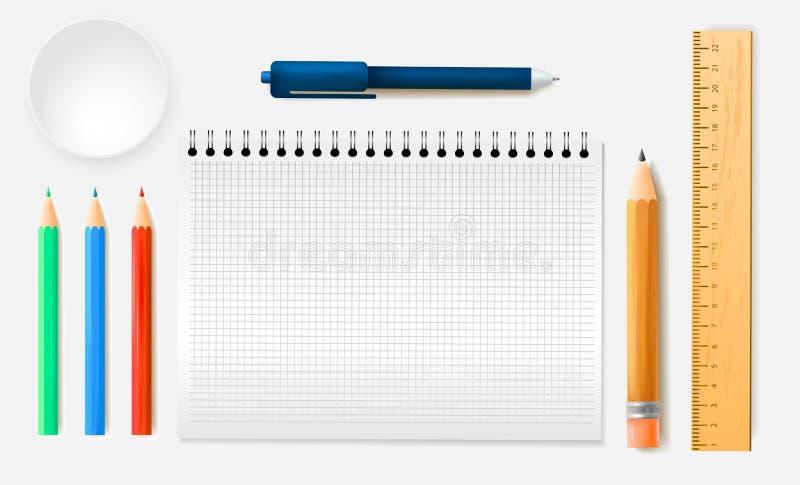 Ассортимент канцелярских принадлежностей установил карандашей правителей, тетради в реалистическом стиле o иллюстрация вектора