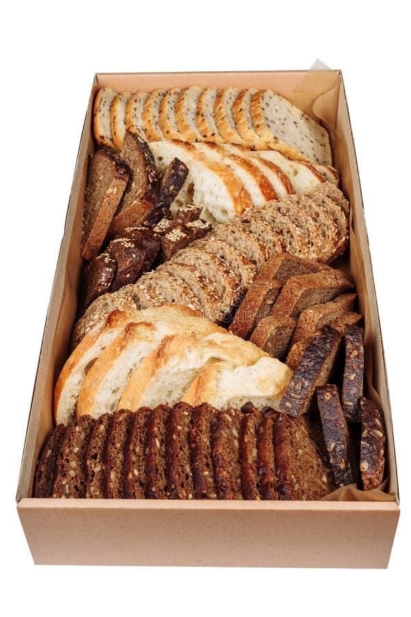 Ассортимент отрезал изолированную коробку доставки коробки хлеба стоковые изображения rf