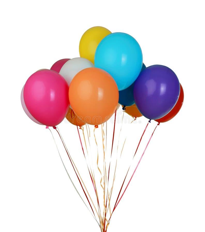 Ассортимент плавая изолированных воздушных шаров партии - стоковые фотографии rf