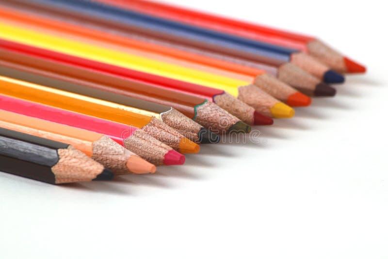 Ассортимент покрашенных карандашей/покрасил цвет карандашей чертежа стоковые изображения rf