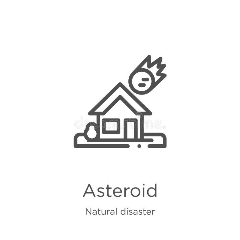 Астероидный вектор значка от собрания стихийного бедствия Тонкая линия астероидная иллюстрация вектора значка плана План, тонкая  иллюстрация вектора