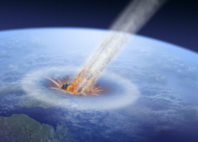 Астероидный удар на земле иллюстрация вектора