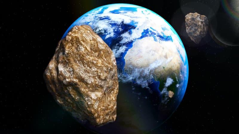 Астероиды приходя близко к земле от глубокого космоса иллюстрация вектора