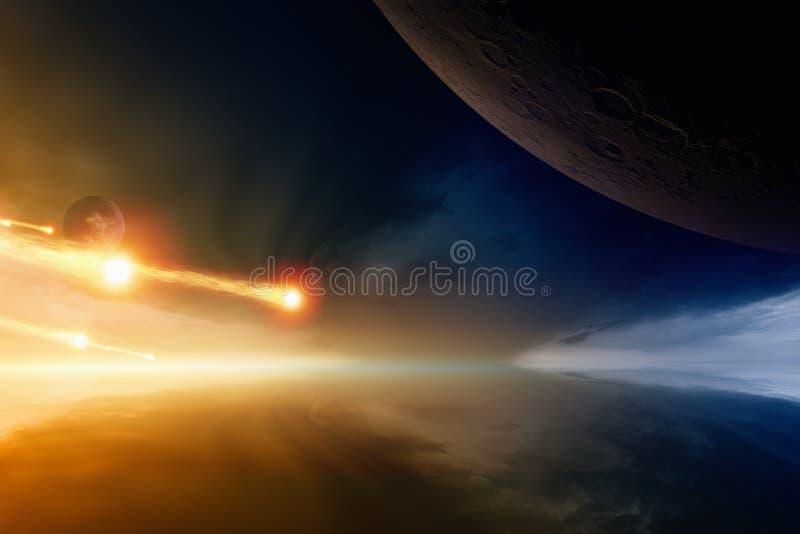 Астероидный удар стоковые изображения rf