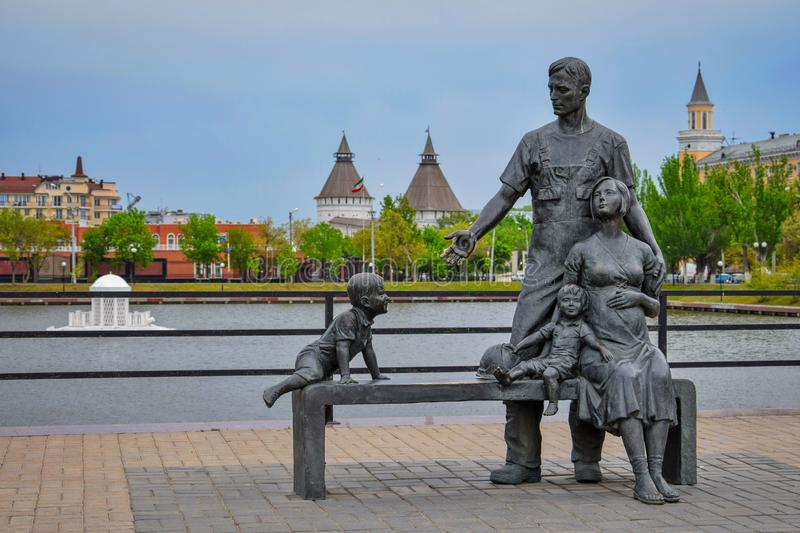 Family sculpture at Swan Lake in Astrakhan stock photography