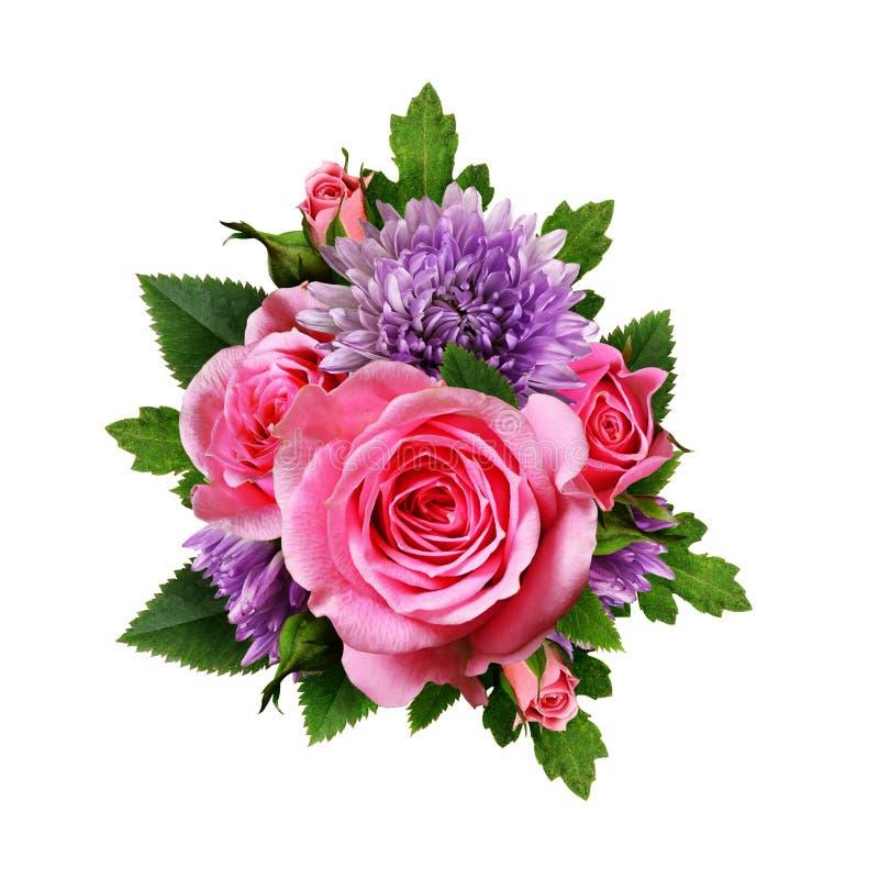 Астра и розовый букет цветков стоковое фото