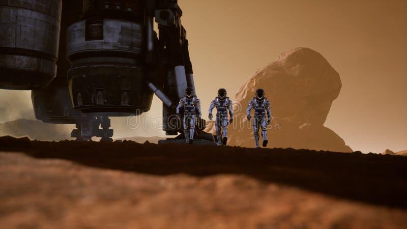 Астронавты идут на поверхность Марса после приземляться в ракету Панорамный ландшафт на поверхности Марса 3d бесплатная иллюстрация